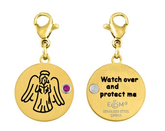 Angel Disc Charm With Personalized Birthstone