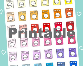 Washing Machine Printable Planner Stickers