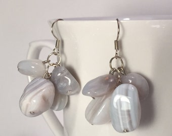 Natural Stone - Light Gray and White Earrings