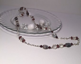 Naturals - Gray stone Purple and Clear Accent bead Necklace