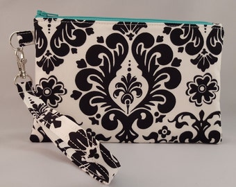 Wristlet- Black and white with teal