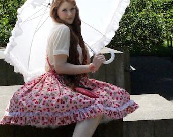 Lolita/Rococo/Fairy Kei/Cosplay/Decora/Harajuku Inspired Pink Cherry Cupcake Skirt with White Trim//Lolita Skirt/Fairy Kei Skirt, Cupcake