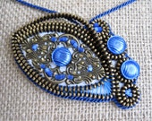 Blue eye - zipper necklace. Zipper jewelry. Zipper embroidery necklace. Blue pendant.  Unique handmade jewelry. Original gift for her.