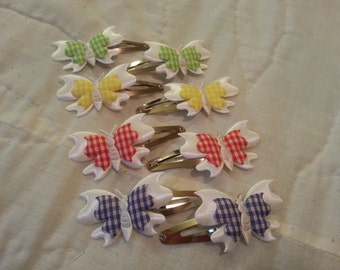 Gingham Butterfly Barrettes Set