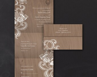 Lacy Rustic - Seal 'n Send Invitation - Set of 25