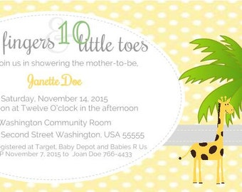 Ten Little Fingers and Ten Little Toes - Baby Shower Invitation