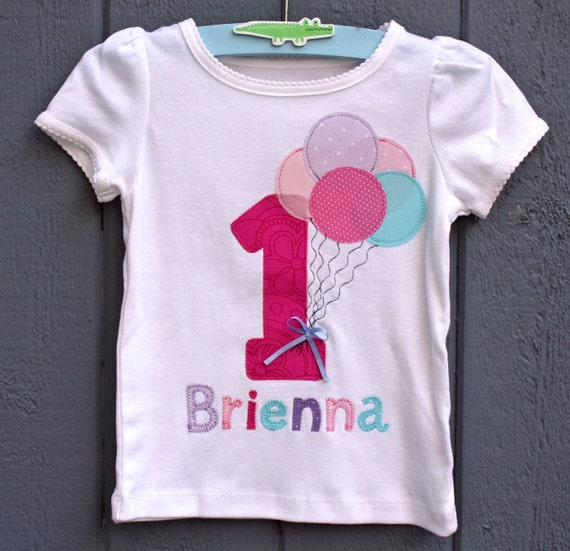 Balloon Birthday tee with Name and Age