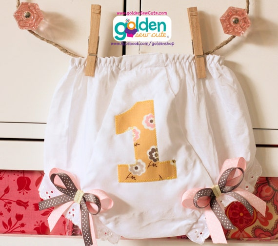 Birthday Number or Initial Bloomers, Diaper Cover with Bows