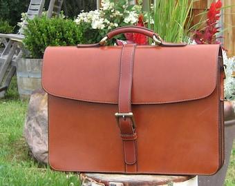 ENTERPRISER Briefcase, in English Bridle Leather with full English Bridle Leather Lining
