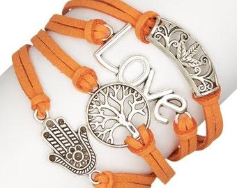 Orange & Silvertone 'Love' Leather Bracelet