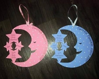 Personalised Wooden Moon and Stars Plaque - New Baby/Christening/Nursery