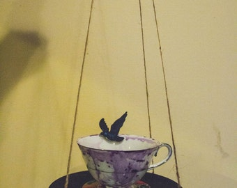 Vinyl Tea Cup Bird Feeder