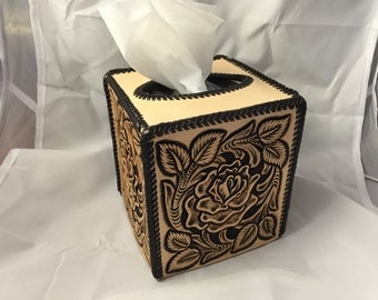 Leather Tissue Box Cover - Carved & Tooled