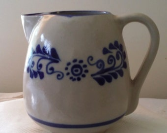Stoneware pitcher, Pennsylvania dutch pitcher, blue pitcher, large beverage pitcher