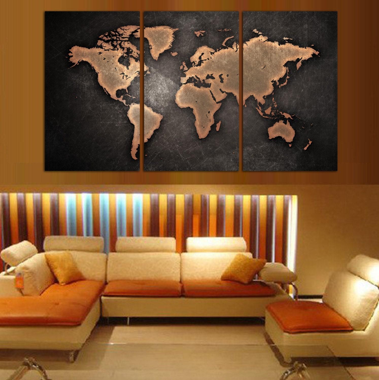 3 Panel Split Art World Map Canvas Print Triptych For: World Map Canvas Prints 3 Panel Split Art Triptych Art For