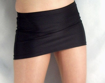 Black spandex micro mini skirt
