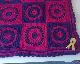 Pink/purple crochet baby blanket /snuggle rug