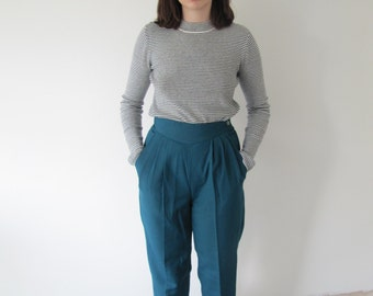Vintage 1970s Ladies High Waisted Teal Pleat Front Trousers