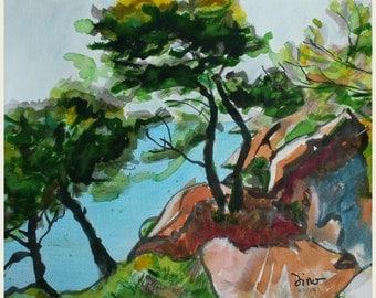 Sentier des douaniers - Impression A4 (21x30 cm.) Original réalisé aux encres et aquarelles.