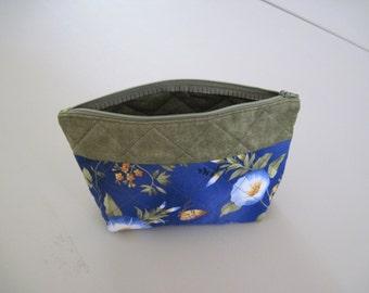 Green/Blue Floral Zipper Closure Bag
