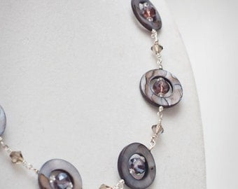 necklace - Stylish modern design mother of pearl and crystal purple and smoke necklace