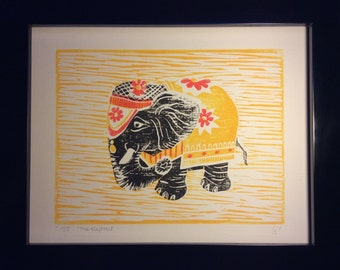 The Elephant - Limited Edition Lino Print by Laura Young