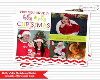 Holly Jolly Christmas Card, Christmas Card, Digital Christmas Card, Holiday Christmas Card, Seasons Greetings