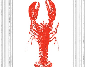 Lobster Print, Lobster Wall Art, Lobster Printable, Digital Lobster Printable, Printable Lobster Art, Digital Download Print