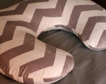 Baby/Infant Nursing Pillow Cover Fits Boppy Chevron  Gray/White Minky