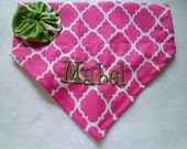 Dog Bandana, Personalized, Monogram, Quatrefoil, Pink, Over the Collar, Dog Scarf