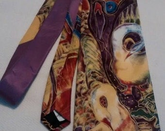 Swans necktie created from an original watercolor