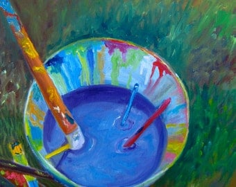"Original oil painting called ""Painting Bucket"""