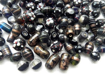 1 Pound vintage style supper delux handmade black colour mix LAMPWORK glass beads mix ONE POUND.