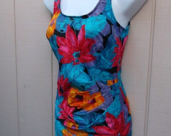 Vintage 80s does 50s Blue Floral Swimsuit by Maxine of Hollywood / swimdress bathing suit / Size Med