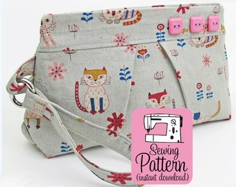 Pleated Wristlet PDF Sewing Pattern | Wristlet Clutch Handbag Purse Sewing PDF Pattern