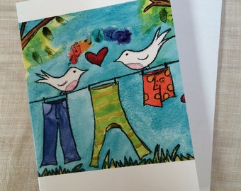 CARDS Laundry Line Love Set of 6 cards printed on recycled paper birds heart rainbow by Fern House Studio NEW