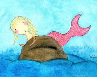 PRINT - Blond Pink Mermaid