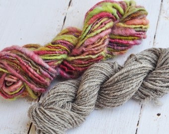 Handspun Yarn - Set of 2 Mini Skeins - Lovingly Spun