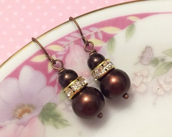 Brown Pearl Earrings, Brown Rhinestone Earrings, Brown Pearl Drop Earrings, Short Dangle Earrings, Brown Earrings, KreatedByKelly