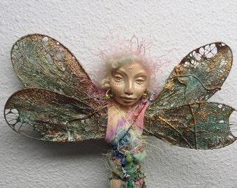 Dragonfly Nature Spirit, Art doll, Secret Garden Spirit,  OOAK Figurative Sculpture,  Mix Media  by Griselda