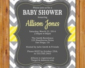 Baby Shower Invitation Grey Yellow White Chevron Gender Neutral Printable Shower Birthday Baby Invite Digital JPG 5x7 (200)