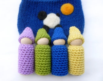 Peg doll gnomes Large Gnomes in a pouch set wood peg dolls felted pouch