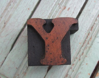 Antique Letterpress Wood Type Printing Block Letter Y