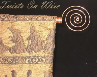 2  Solid Copper Circle Swirl Curtain Rod Finials  Handcrafted End Caps Metalwork