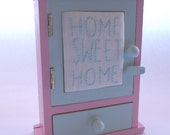 Mini Key Jewellery Home Sweet Home Hand Embroidered Cabinet