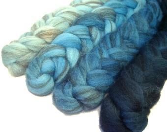 Handpainted Heathered BFL Wool Roving Bundle - 4 oz. SHADES of TURQUOISE - Spinning Fiber