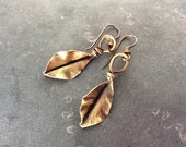 Brass Elm Leaf earrings, handmade, hand hammered, made to order