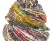 Handspun Art Yarn corespun handcarded sparkly Merino BFL wool bamboo sari silk