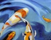 Happy Koi painting art Print of original oil painting of Koi fish