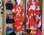 Hanako Doll with 3 wigs/  Vintage Hanako doll/  1950's Japanese Doll/  Hanako Trademark doll